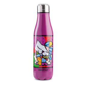 Britto KBR44-PGA Purple & Pop Art Cat Insulated Flask Bottle | 500 ml | Stainless Steel Thumbnail 1