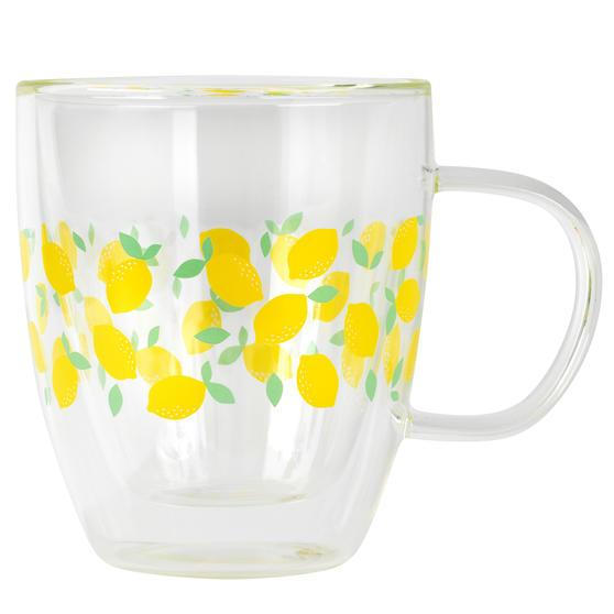 Cambridge® CM07249 Ditsy Lemons Borosilicate Glass Mug with Handle | Double Walled | 300 ml | Perfect for Tea, Coffee, Hot Chocolate