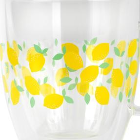 Cambridge® CM07249 Ditsy Lemons Borosilicate Glass Mug with Handle | Double Walled | 300 ml | Perfect for Tea, Coffee, Hot Chocolate Thumbnail 2