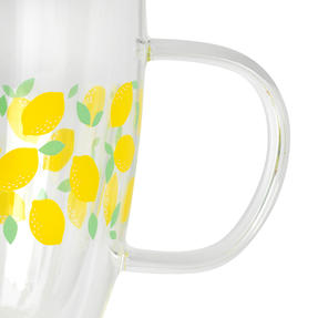 Cambridge® CM07249 Ditsy Lemons Borosilicate Glass Mug with Handle | Double Walled | 300 ml | Perfect for Tea, Coffee, Hot Chocolate Thumbnail 3