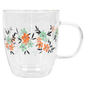 Cambridge® CM07250 Francie Borosilicate Glass Mug with Handle | Double Walled | 300 ml | Floral Print | Perfect for Tea, Coffee, Hot Chocolate