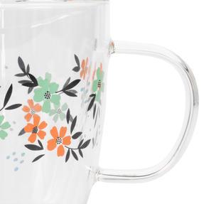 Cambridge® CM07250 Francie Borosilicate Glass Mug with Handle | Double Walled | 300 ml | Floral Print | Perfect for Tea, Coffee, Hot Chocolate Thumbnail 3