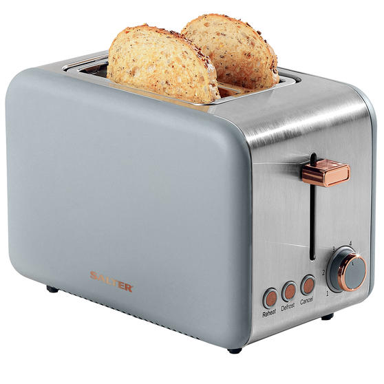 Salter® 2-Slice Toaster with Wide Slots & Removable Crumb Tray | 850 W | Defrost/Reheat/Cancel