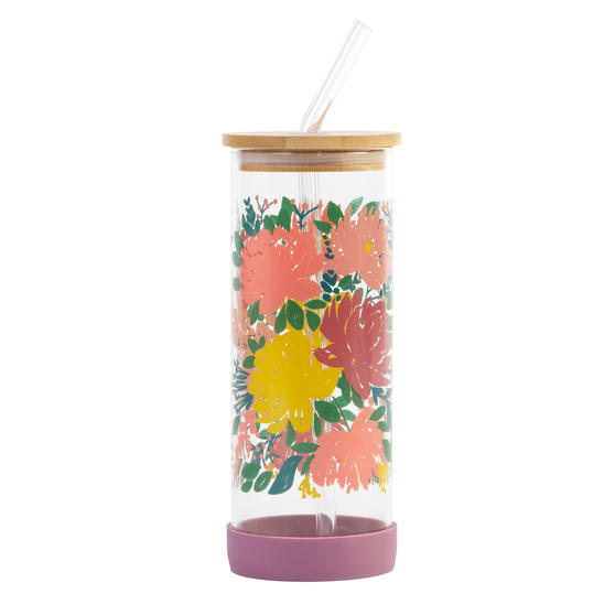 Cambridge® CM07271 Elodie Glass Bottle with Straw | Non-Slip Base| Leakproof | 450 ml | BPA Free | Stylish Bamboo Lid