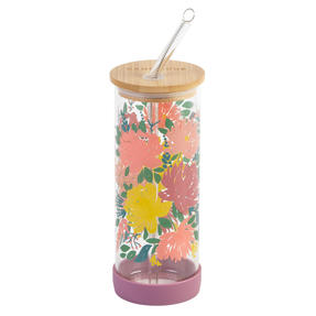 Cambridge® CM07271 Elodie Glass Bottle with Straw | Non-Slip Base| Leakproof | 450 ml | BPA Free | Stylish Bamboo Lid Thumbnail 3