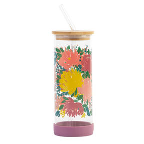 Cambridge® CM07271 Elodie Glass Bottle with Straw | Non-Slip Base| Leakproof | 450 ml | BPA Free | Stylish Bamboo Lid Thumbnail 4