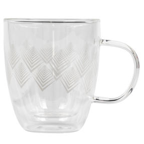Cambridge® CM07251 Hollingworth Borosilicate Glass Mug with Handle | Double Walled | 300 ml | Perfect for Tea, Coffee, Hot Chocolate