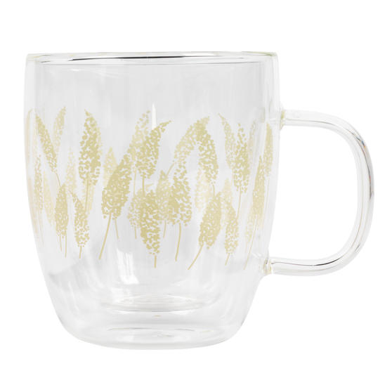 Cambridge® CM07260 Feather Grass Borosilicate Glass Mug with Handle   Double Walled   350 ml   Perfect for Tea, Coffee, Hot Chocolate