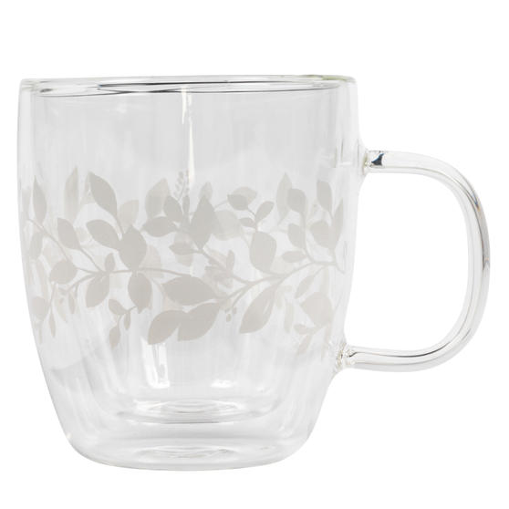 Cambridge® CM07261 Laurel Borosilicate Glass Mug with Handle | Double Walled | Leaf Print | 350 ml | Perfect for Tea, Coffee, Hot Chocolate