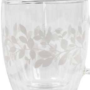 Cambridge® CM07261 Laurel Borosilicate Glass Mug with Handle | Double Walled | Leaf Print | 350 ml | Perfect for Tea, Coffee, Hot Chocolate Thumbnail 2