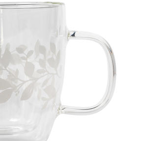 Cambridge® CM07261 Laurel Borosilicate Glass Mug with Handle | Double Walled | Leaf Print | 350 ml | Perfect for Tea, Coffee, Hot Chocolate Thumbnail 3