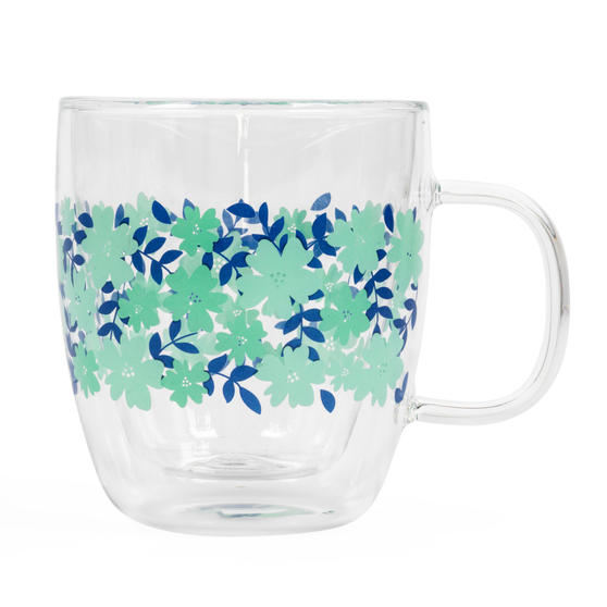 Cambridge® CM07262 Penelope Borosilicate Glass Mug with Handle | Double Walled | Floral Print | 350 ml | Perfect for Tea, Coffee, Hot Chocolate