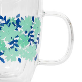 Cambridge® CM07262 Penelope Borosilicate Glass Mug with Handle | Double Walled | Floral Print | 350 ml | Perfect for Tea, Coffee, Hot Chocolate Thumbnail 3