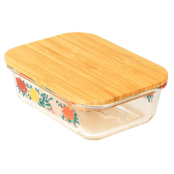 Cambridge® CM07305 Elodie Glass Lunch Box with Bamboo Lid | BPA Free | Unique Floral Design | Reusable Dry Food Storage Container
