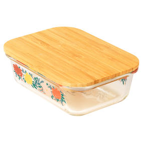 Cambridge® CM07305 Elodie Glass Lunch Box with Bamboo Lid | BPA Free | Unique Floral Design | Reusable Dry Food Storage Container Thumbnail 1
