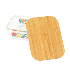 Cambridge® CM07305 Elodie Glass Lunch Box with Bamboo Lid | BPA Free | Unique Floral Design | Reusable Dry Food Storage Container Thumbnail 2