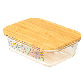 Cambridge® CM07317 Kaia Glass Lunch Box with Bamboo Lid | BPA Free | Unique Floral Design | Reusable Dry Food Storage Container