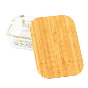 Cambridge® CM07317 Kaia Glass Lunch Box with Bamboo Lid | BPA Free | Unique Floral Design | Reusable Dry Food Storage Container Thumbnail 2