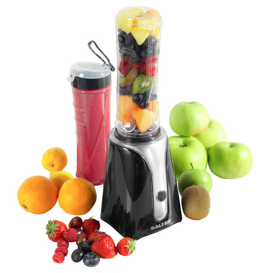 Salter EK2151BLK Blender to Go with Stainless Steel Cross Blade | Ideal for Healthy Smoothies | Includes Two 600 ml BPA Free Bottles | 350 W | Black