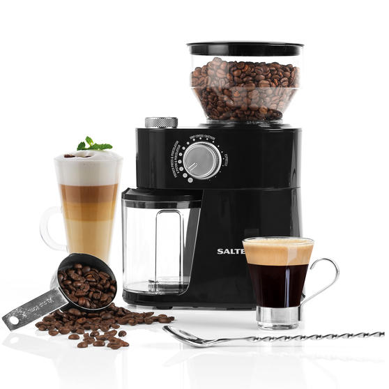 Salter® EK4367 Caffé Burr Coffee Grinder | With Coarse, Medium and Fine Settings | Auto Shut-off | Removable Grinding Wheel for Easy Cleaning