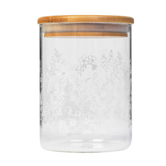 Cambridge® CM07224 Spring Meadow Storage Preserving Glass Jar | 650 ml | Bamboo Lid | Perfect For Storing Dry Pasta, Rice, Flour, Biscuits, Grains