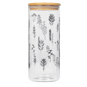 Cambridge® CM07283 Doodle Plant Storage Preserving Glass Jar | 1200 ml | Bamboo Lid | Perfect For Storing Dry Pasta, Rice, Flour, Biscuits, Grains