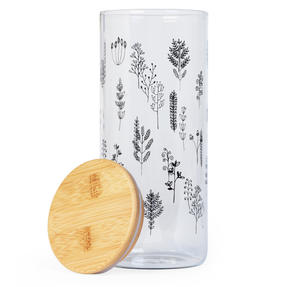 Cambridge® CM07283 Doodle Plant Storage Preserving Glass Jar | 1200 ml | Bamboo Lid | Perfect For Storing Dry Pasta, Rice, Flour, Biscuits, Grains Thumbnail 2