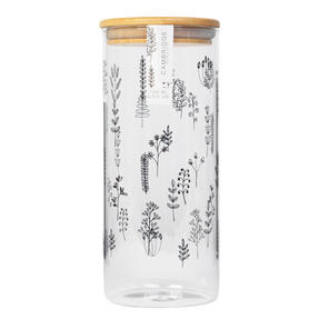 Cambridge® CM07283 Doodle Plant Storage Preserving Glass Jar | 1200 ml | Bamboo Lid | Perfect For Storing Dry Pasta, Rice, Flour, Biscuits, Grains Thumbnail 3