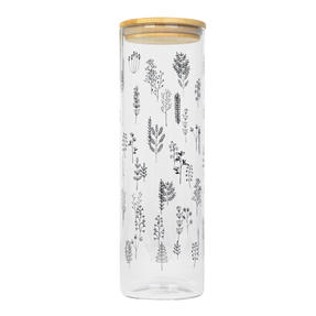 Cambridge® CM07236 Doodle Plant Storage Preserving Glass Jar | 1800 ml | Bamboo Lid | Perfect For Storing Dry Pasta, Rice, Flour, Biscuits, Grains
