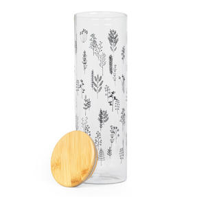 Cambridge® CM07236 Doodle Plant Storage Preserving Glass Jar | 1800 ml | Bamboo Lid | Perfect For Storing Dry Pasta, Rice, Flour, Biscuits, Grains Thumbnail 2
