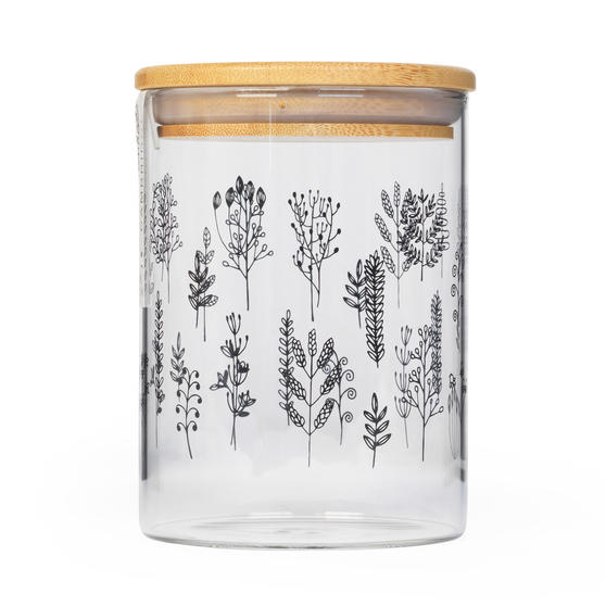 Cambridge® CM07282 Doodle Plant Storage Preserving Glass Jar | 650 ml | Bamboo Lid | Perfect For Storing Dry Pasta, Rice, Flour, Biscuits, Grains
