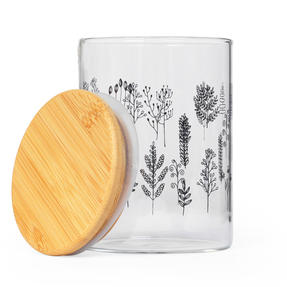 Cambridge® CM07282 Doodle Plant Storage Preserving Glass Jar | 650 ml | Bamboo Lid | Perfect For Storing Dry Pasta, Rice, Flour, Biscuits, Grains Thumbnail 2