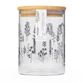 Cambridge® CM07282 Doodle Plant Storage Preserving Glass Jar | 650 ml | Bamboo Lid | Perfect For Storing Dry Pasta, Rice, Flour, Biscuits, Grains Thumbnail 3