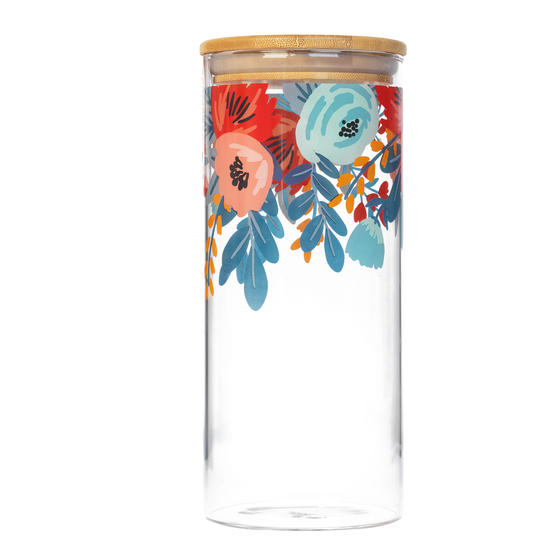 Cambridge® CM07280 Arielle Storage Preserving Glass Jar | 1200 ml | Bamboo Lid | Perfect For Storing Dry Pasta, Rice, Flour, Biscuits, Grains