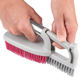 Kleeneze® KL078957EU7 2 in 1 Rubber Head Scrubbing Brush | Carry Handle for Easy Use | Cleans Dishes Quickly | Pink/Grey Thumbnail 4