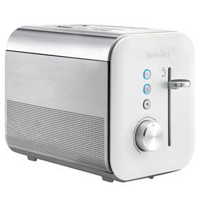 Breville VTT686 High Gloss 2-Slice Toaster | 800 W | Variable Browning Function | LED Lit Buttons | Reheat and Defrost Settings | White