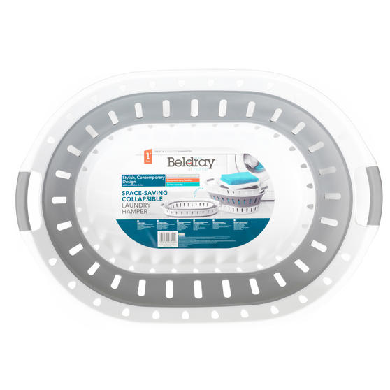Beldray® LA079299EU7 Space-Saving Collapsible Laundry Hamper | 36 Litre | Folds Easily | Includes Ventilation Holes | Grey/White