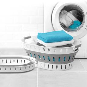 Beldray® LA079299EU7 Space-Saving Collapsible Laundry Hamper | 36 Litre | Folds Easily | Includes Ventilation Holes | Grey/White Thumbnail 3