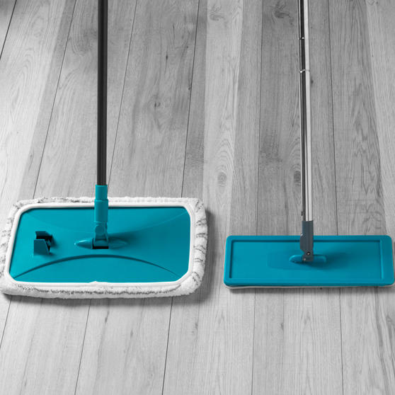 Beldray® Speed Clean Extra Wide Flat Head Mop | Extendable Pole | Machine Washable Microfibre Head | Turquoise Main Image 2