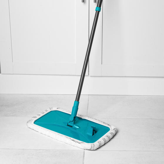 Beldray® Speed Clean Extra Wide Flat Head Mop | Extendable Pole | Machine Washable Microfibre Head | Turquoise Main Image 3