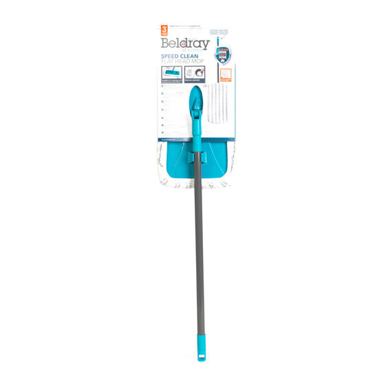Beldray® Speed Clean Extra Wide Flat Head Mop | Extendable Pole | Machine Washable Microfibre Head | Turquoise Main Image 4