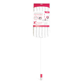 Kleeneze® KL079633EU7 Speed Clean Extra Wide Flat Head Mop | Extendable Pole | Machine Washable Microfibre Head | White/Pink Thumbnail 1