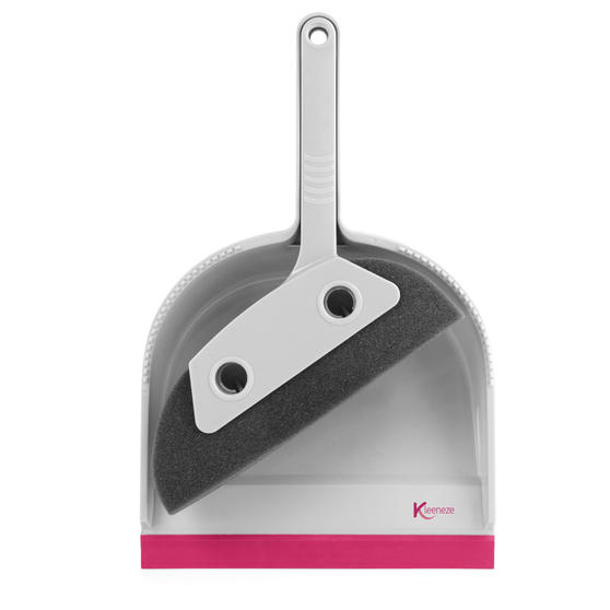 Kleeneze® KL071576EU7 Pet Foam Dustpan and Brush | Ideal for Families with Pets | Pink/Grey