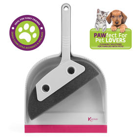 Kleeneze® KL071576EU7 Pet Foam Dustpan and Brush | Ideal for Families with Pets | Pink/Grey Thumbnail 2