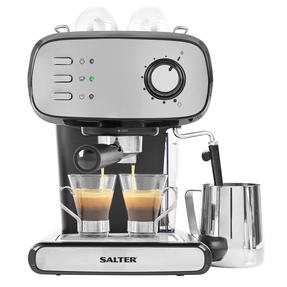 Salter® EK4369 Caffé Barista Pro Espresso Maker | 15-Bar Pressure Pump | Makes 2 Cups at Once | Includes Milk Frothing Wand | Durable Stainless Steel Filter Thumbnail 1