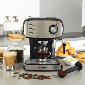 Salter® EK4369 Caffé Barista Pro Espresso Maker | 15-Bar Pressure Pump | Makes 2 Cups at Once | Includes Milk Frothing Wand | Durable Stainless Steel Filter Thumbnail 2