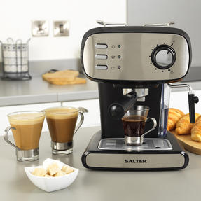 Salter® EK4369 Caffé Barista Pro Espresso Maker | 15-Bar Pressure Pump | Makes 2 Cups at Once | Includes Milk Frothing Wand | Durable Stainless Steel Filter Thumbnail 7