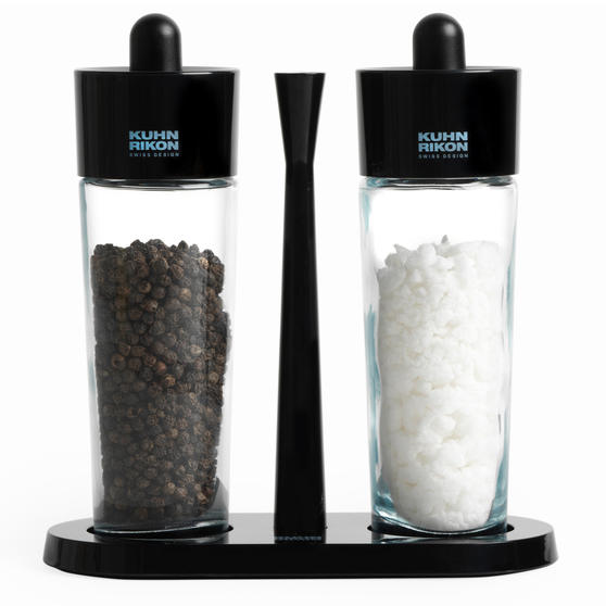 Kuhn Rikon 31733 Glass Salt and Pepper Set | Glass Body | Easy Removable Refill Lid | Carry Tray