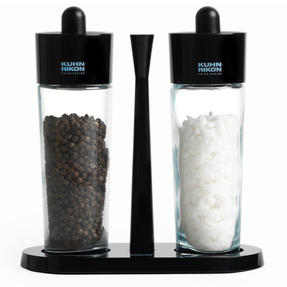 Kuhn Rikon 31733 Glass Salt and Pepper Set | Glass Body | Easy Removable Refill Lid | Carry Tray Thumbnail 1