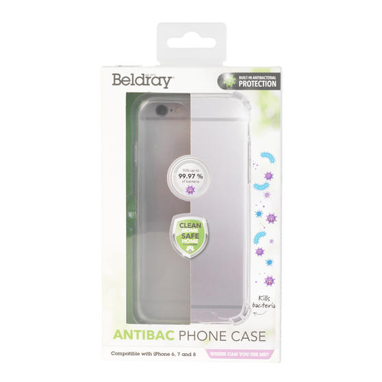 Beldray® EE5971CDUSTKEU7 Antibac iPhone Phone Case | Antibacterial Plastic | Compatible with iPhone 6/7/8 | Reduces Bacterial Growth